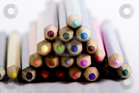 Pyramid of color pencils stock photo, color pencils by Fesus Robert