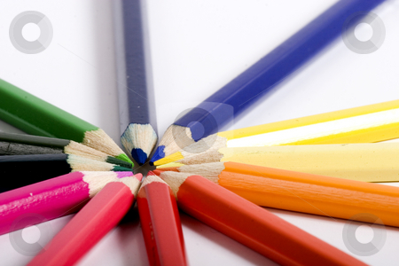 Circle of different color pencils stock photo, color pencils by Fesus Robert