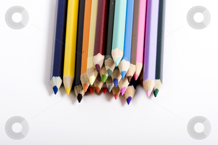 Stack of color pencils stock photo, color pencils by Fesus Robert