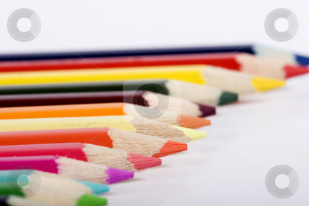 Line of color pencils stock photo, color pencils by Fesus Robert