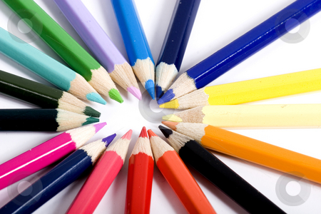 Circle of color pencils stock photo, color pencils by Fesus Robert