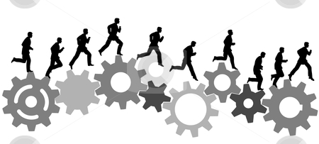 Business man in a hurry runs on industrial machine gears stock vector clipart, A business man runs in a hurry runs on a set of machine gears. Animation-like sequence of frames. by Michael Brown