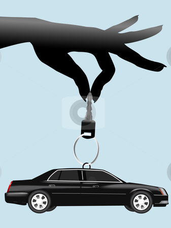 Female hand dangles auto key & car on keyring stock vector clipart, A female hand dangles an auto key and a black car on a keyring. by Michael Brown