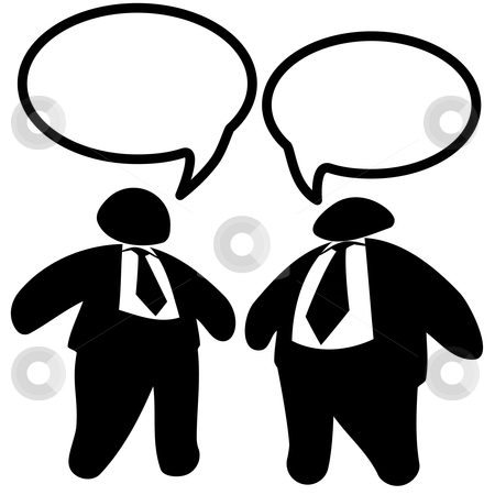 Two Big Fat Business Men Executives in Suits & Ties Talk stock vector clipart, Executives: Two big shot fat-cat business men in suits & ties talk in speech bubbles. by Michael Brown