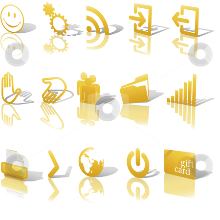 Web Gold Icons Shadows & Relections Angled on White Set 2 stock vector clipart, Gold Angled Icon Symbol Set 2: Printer; Gears; Chart; Earth; People; RSS; etc. On white with shadows & reflection by Michael Brown