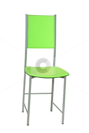 Green chair stock photo, Stylish modern chair of green color isolated over white by Natalia Macheda