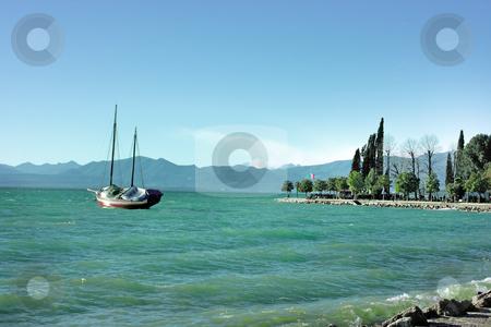 Lake Garda stock photo, Lake Garda in Bardolino (Northern Italy) with ancient ship by Natalia Macheda