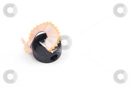 Pencil Sharpener stock photo, A standard pencil sharpener and shavings. by Robert Byron