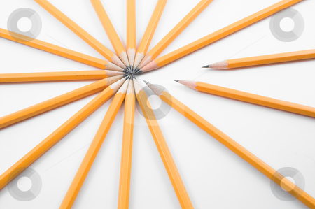 Pencils stock photo, A bunch of pencils. by Robert Byron