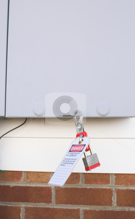 Lockout Tagout stock photo, An industrial  machine power switch with lockout tagout. by Robert Byron