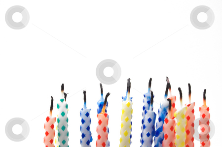Birthday Candles stock photo, A series of birthday candles used for decorating ckaes. by Robert Byron