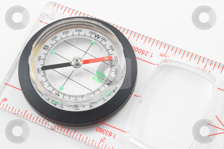 Compass stock photo, A compass used for finding direction. by Robert Byron