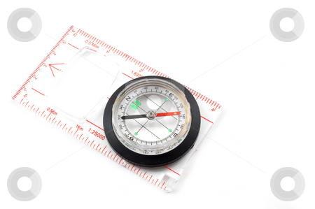 Compass stock photo, A compass for locating direction on a map or when lost. by Robert Byron