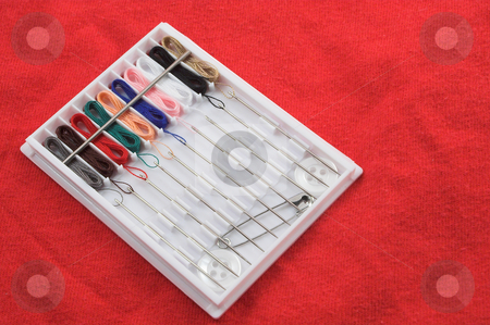 Sewing Kit stock photo, A small portable travel sized sewing kit. by Robert Byron