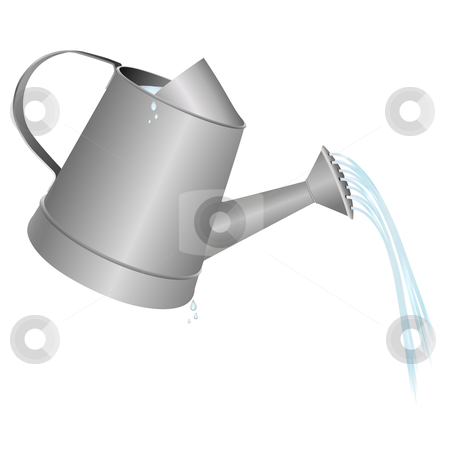 Watering can stock vector clipart, Watering can vector illustration, water and drops included by Tilo