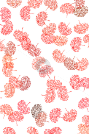 Pattern with flowers stock photo, Red pastel flowers on white background textured by Wino Evertz