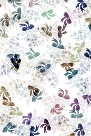 Pattern with flowers stock photo, Flowers with present knots in pastel colours on white background by Wino Evertz
