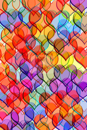Pattern with hearts stock photo, Glassy hearts in many colours by Wino Evertz