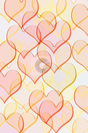 Pattern with hearts stock photo, Red and yellow glassy transparent hearts by Wino Evertz