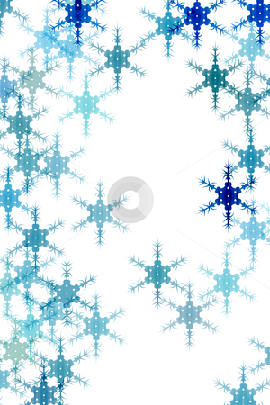 Pattern with snow stock photo, Snowflakes in different blue colours on white background by Wino Evertz