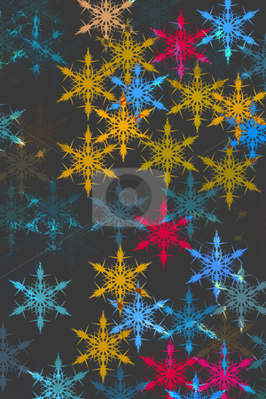 Pattern with snow stock photo, Snowflakes in different  colours on black background by Wino Evertz