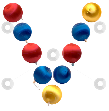 Letter V stock photo, The letter v spelled using Christmas balls, isolated on a white background by Richard Nelson