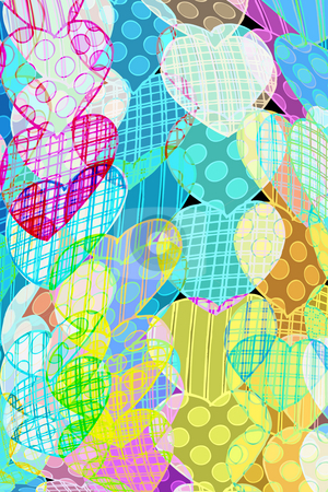 Pattern with hearts stock photo, Garlands of colorful transparent hearts by Wino Evertz