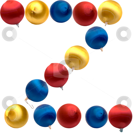 Letter Z stock photo, The letter z spelled using Christmas balls, isolated on a white background by Richard Nelson