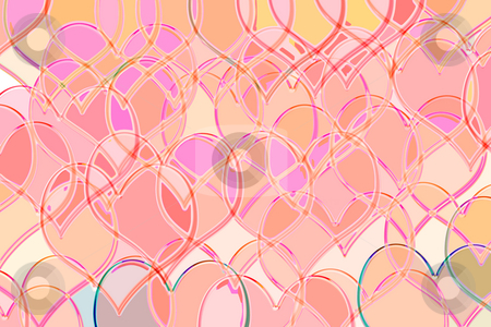 Pattern with hearts stock photo, Many transparent pink hearts by Wino Evertz