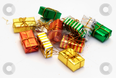 Assorted Gifts stock photo, A pile of presents isolated on a white background by Richard Nelson