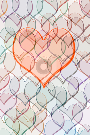 Heart on pattern of hearts stock photo, Red heart on many transparent hearts by Wino Evertz