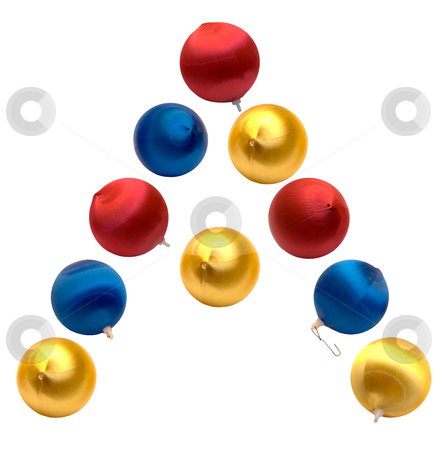 Letter A stock photo, The letter a spelled using Christmas balls, isolated on a white background by Richard Nelson
