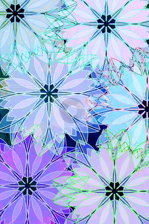Pattern with flowers stock photo, Pink and blue soft pastel flowers on black background by Wino Evertz