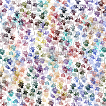 Pattern with flowers stock photo, Many flowers in soft pastel colours on white background by Wino Evertz