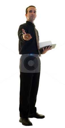 Restaurant Manager stock photo, A young restaurant manager, isolated on a white background by Richard Nelson