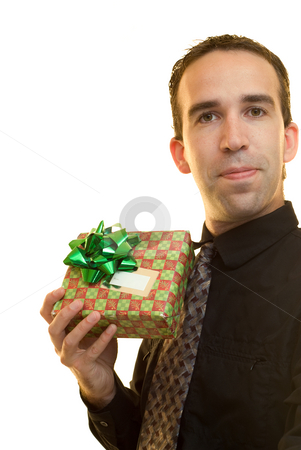 Worker With Gift stock photo, A young worker holding a wrapped gift, isolated on a white background by Richard Nelson