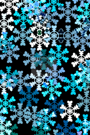 Pattern with snow stock photo, Snowflakes in different blue colours and white on black background by Wino Evertz