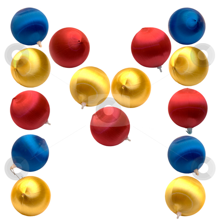 Letter M stock photo, The letter m spelled using Christmas balls, isolated on a white background by Richard Nelson