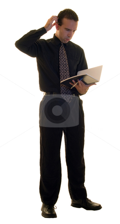 Male Manager stock photo, Full body view of a young manager isolated on a white background by Richard Nelson