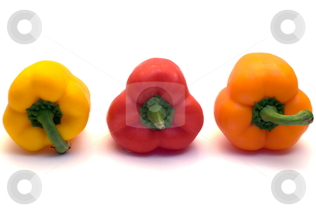 Three Colored Peppers stock photo, A red,orange and yellow pepper shot on a white background by Richard Nelson