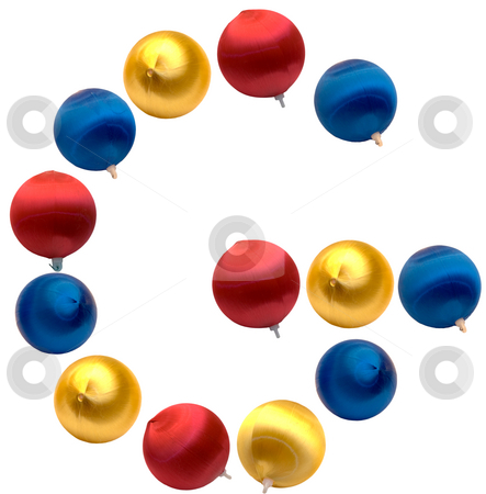 Letter G stock photo, The letter g spelled using Christmas balls, isolated on a white background by Richard Nelson