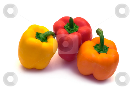 Peppers stock photo, A red,orange and yellow pepper shot on a white background by Richard Nelson