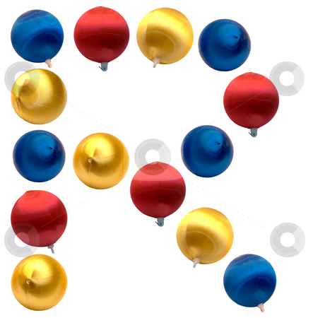 Letter R stock photo, The letter r spelled using Christmas balls, isolated on a white background by Richard Nelson