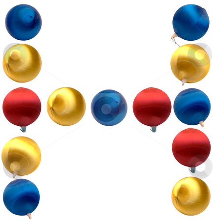 Letter H stock photo, The letter h spelled using Christmas balls, isolated on a white background by Richard Nelson