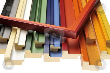 Colorful mouldings stock photo, Colorful picture frame mouldings by Csaba Zsarnowszky