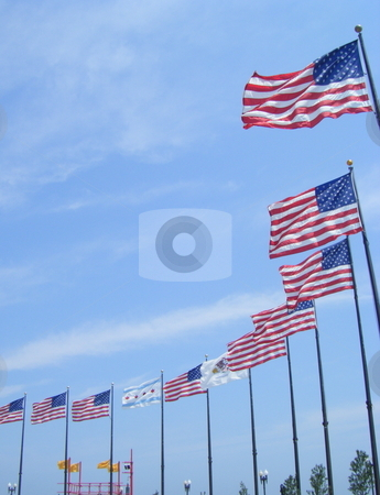 Chicago Navy Pier USA Flags stock photo, This is a picture of Some USA flags on Chicago's Navy Pier on Lake Michigan, Thanks by David Robinson