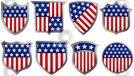 Eight Red White and Blue Shields stock vector clipart, Eight Red White and Blue Shields by Adrian Sawvel