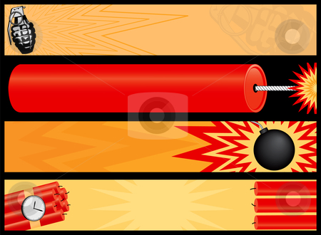 Web banners that go boom stock vector clipart, Web banners that go boom! Including a grenade, bomb, time bomb and firecracker. by Adrian Sawvel