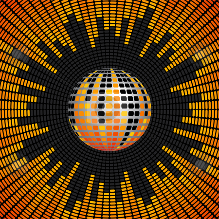 Disco Ball and Equalizer Background stock vector clipart, Red, Orange and Yellow Disco Ball and Equalizer Background by Adrian Sawvel