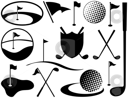 Black and White Golf Icons stock vector clipart, Black and White Golf Icons including golf balls and flags by Adrian Sawvel